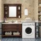 美式��木�L筒洗衣�C浴室柜落地式洗衣池洗�盆一�w �M合�l生�g柜